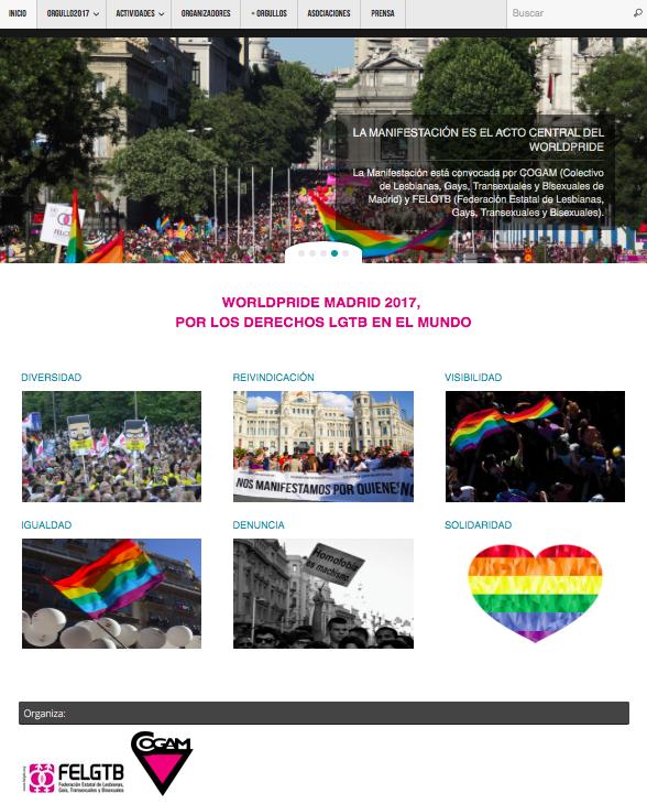 Web oficial de COGAM y FELGTB para Orgullo LGTB+ 2017