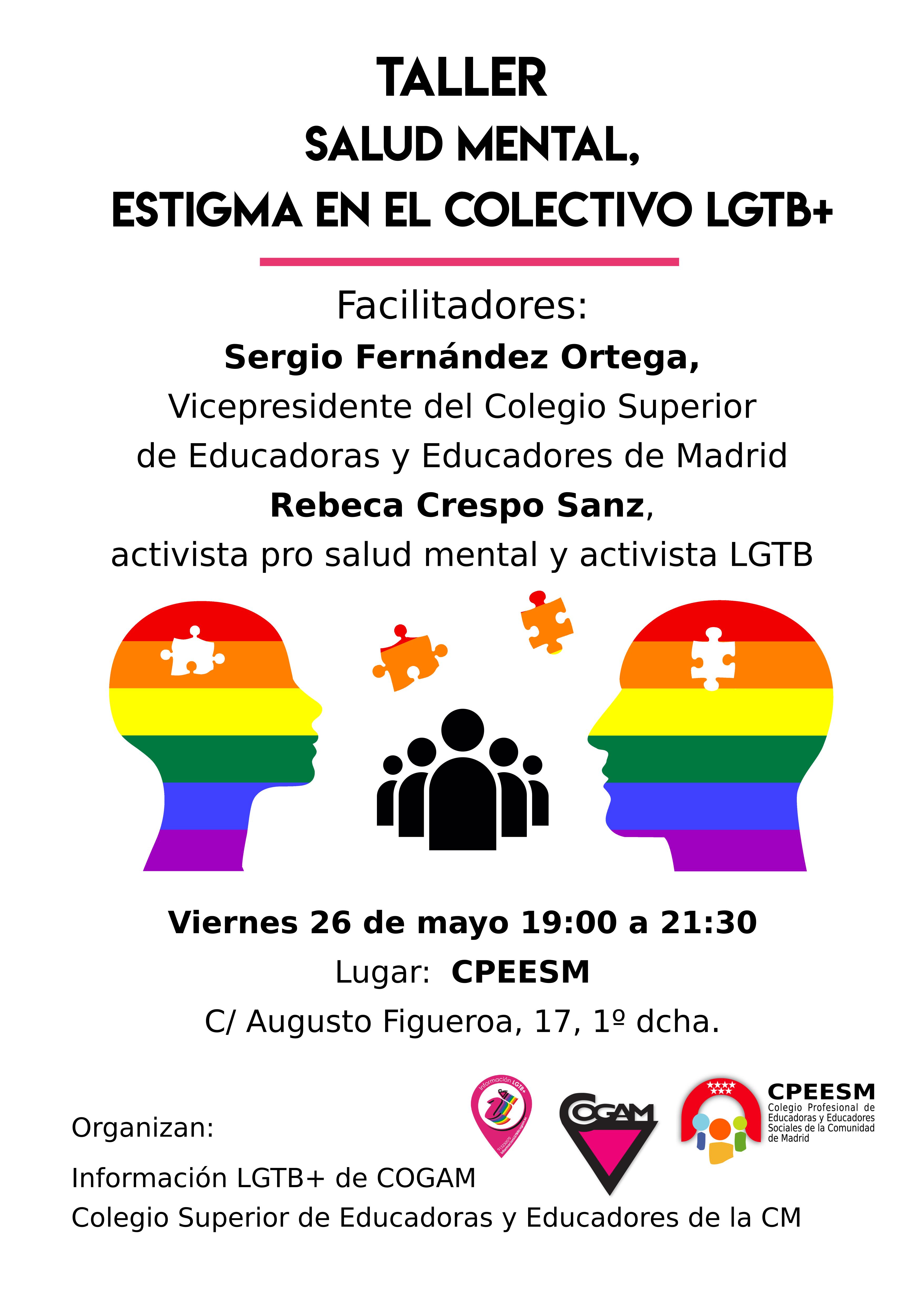 Taller de Salud Mental, estigma LGTB+, en Colegio Oficial de Educadores de la Comunidad de Madrid