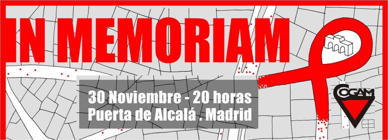 cartel del acto in memoriam que cogam hace el 30 de noviembre en la puerta de alcalá por el día del sida
